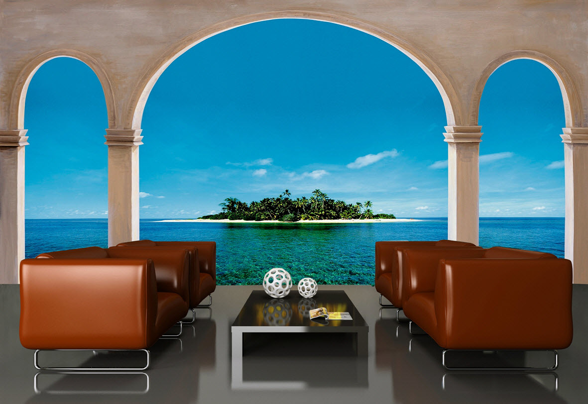 Gaze Through Massive Stone Arches And Across Crystal Blue Ocean Waters To  This Enchanted Island. Tropical Beach Wall Murals Can Instantly Transform  Any Room ... Part 83