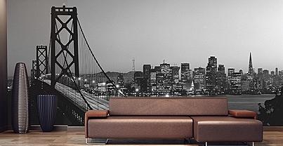 Golden Gate Bridge Black & White Mural 8070
