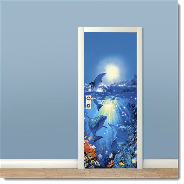 Dolphins in the sun wall mural for Door wall mural