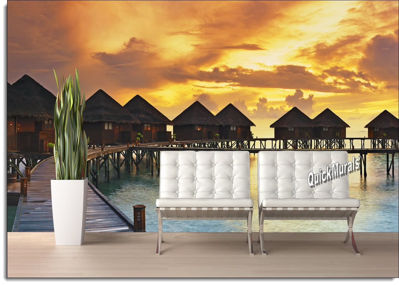 Beach resort sunset peel and stick wall mural create your own scenic outdoor landscape with your choice of our beautiful wall murals theyre the perfect solution to the room with no view amipublicfo Image collections