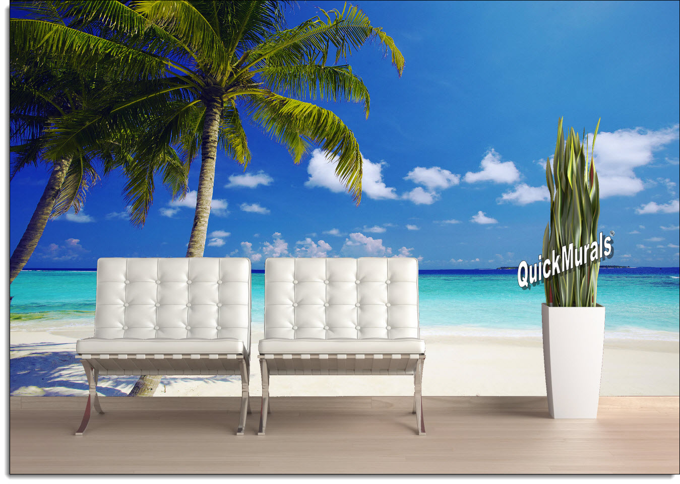 Large Wall Murals tropical ocean peel & stick canvas wall mural - themuralstore