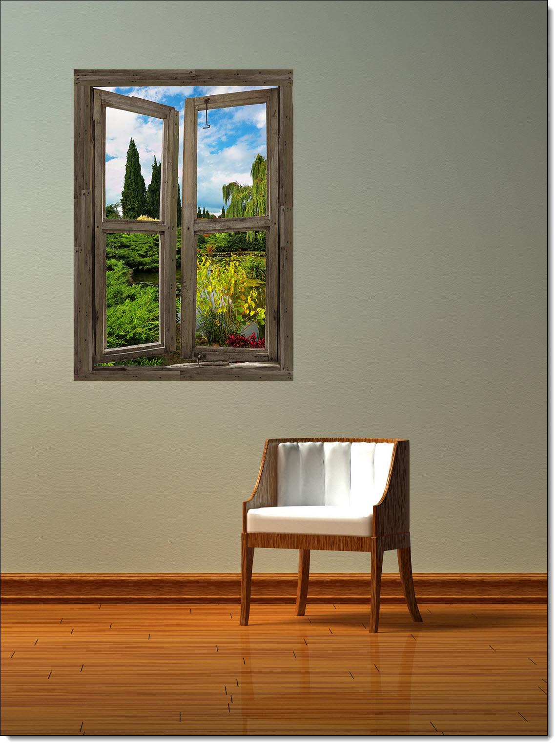 Garden Lake Cabin Window Mural