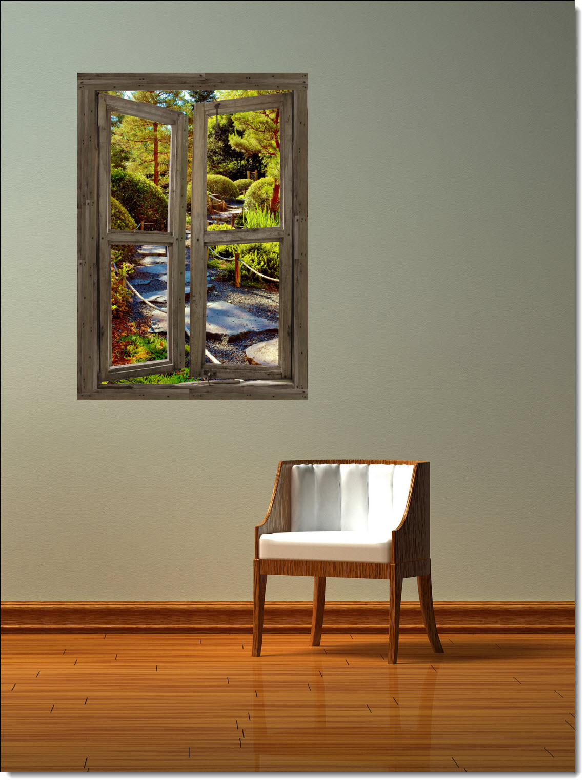 Stone path cabin window one piece peel stick canvas wall for Canvas wall mural