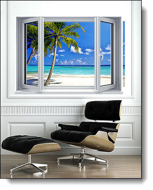 Tropical Ocean Window 1-Piece Peel & Stick Canvas Mural
