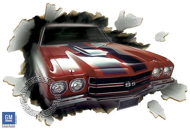 1970 chevelle 396 through the wall red wall mural for Telephone mural 1970