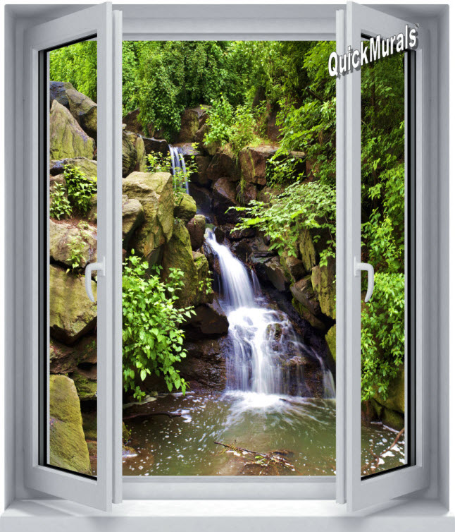 Black forest waterfall window 1 piece peel stick canvas for Canvas wall mural
