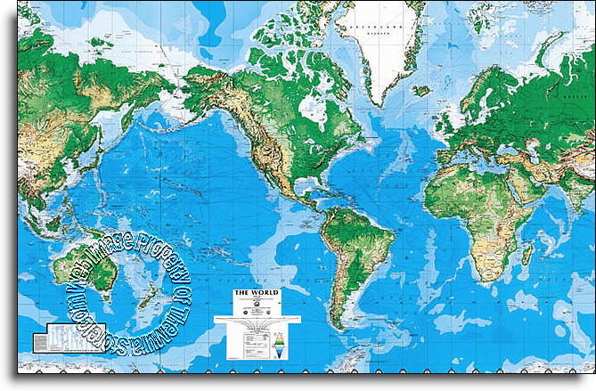 laminated world map wall mural