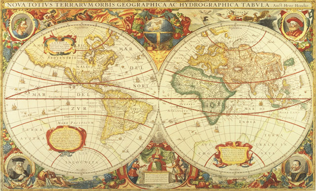 Antique world map wall mural c873 for Environmental graphics giant world map wall mural