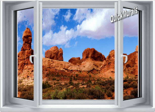 Desert canyon window 1 piece canvas peel stick wall for Desert wall mural