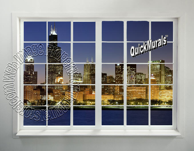 Cityscape window 1 peel stick wall mural for Cityscape mural