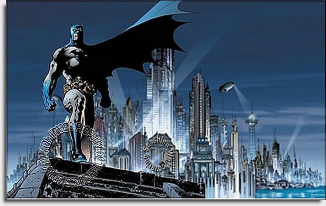Batman city mural wall mural for Batman mural wallpaper