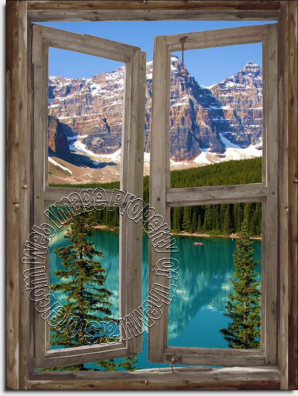 Mountain Cabin Window Mural 2 Dt1298