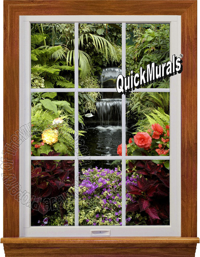 Garden waterfall window 1 piece peel stick wall mural for English garden wall mural