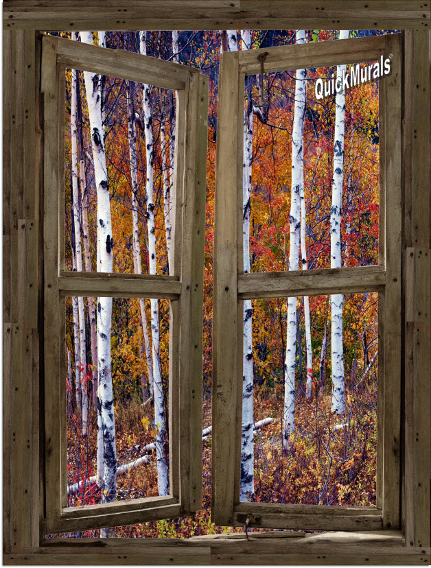 Wilderness cabin window peel stick 1 piece canvas wall for Canvas wall mural