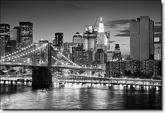Brooklyn bridge black white peel and stick wall mural for Black and white new york mural wallpaper