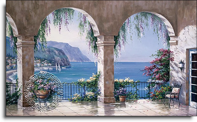 Mediterranean arch wall mural for Environmental graphics giant world map wall mural