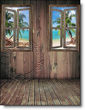 Beach Cabin Window Mural #3
