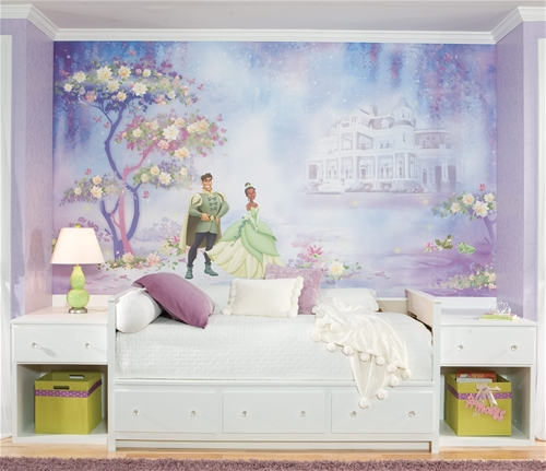 create your own dream scene from the hit disney movie the princess and the frog with this xl wall mural the mural displays a serene nighttime scene that