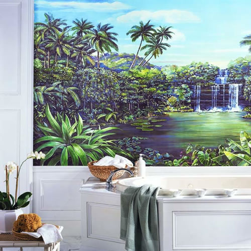 Tropical Lagoon Chair Rail Mural RA0173M