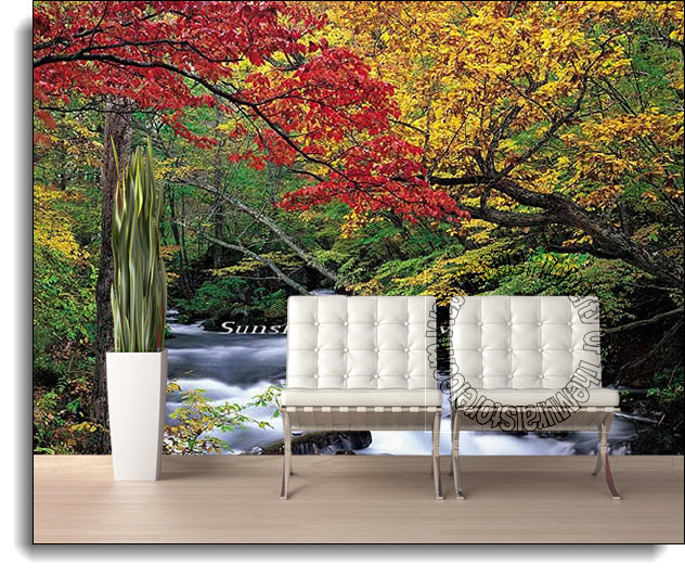 Autumn Brook Wall Mural Full Size Large Wall Murals The Mural Store