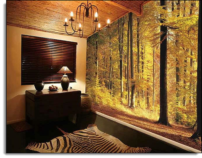 Golden Forest Wall Mural roomsetting