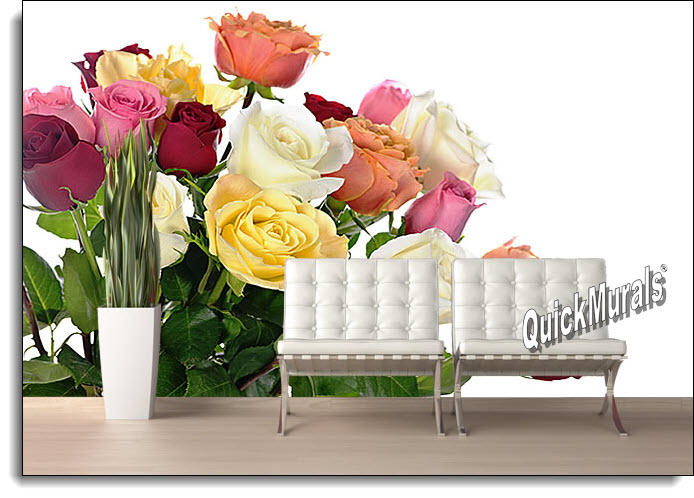 Bouquet Of Roses Peel & Stick Canvas Wall Mural roomsetting