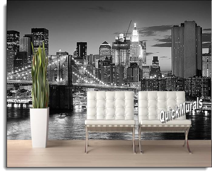 Brooklyn Bridge Black & White Peel & Stick Canvas Wall Mural