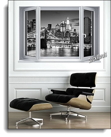 Brooklyn Bridge Window One-Piece Canvas Peel and Stick Wall Mural