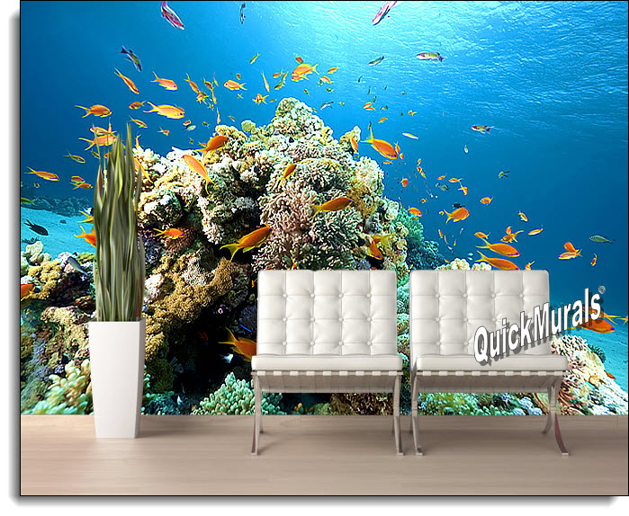 Coral Reef Peel & Stick Canvas Wall Mural roomsetting