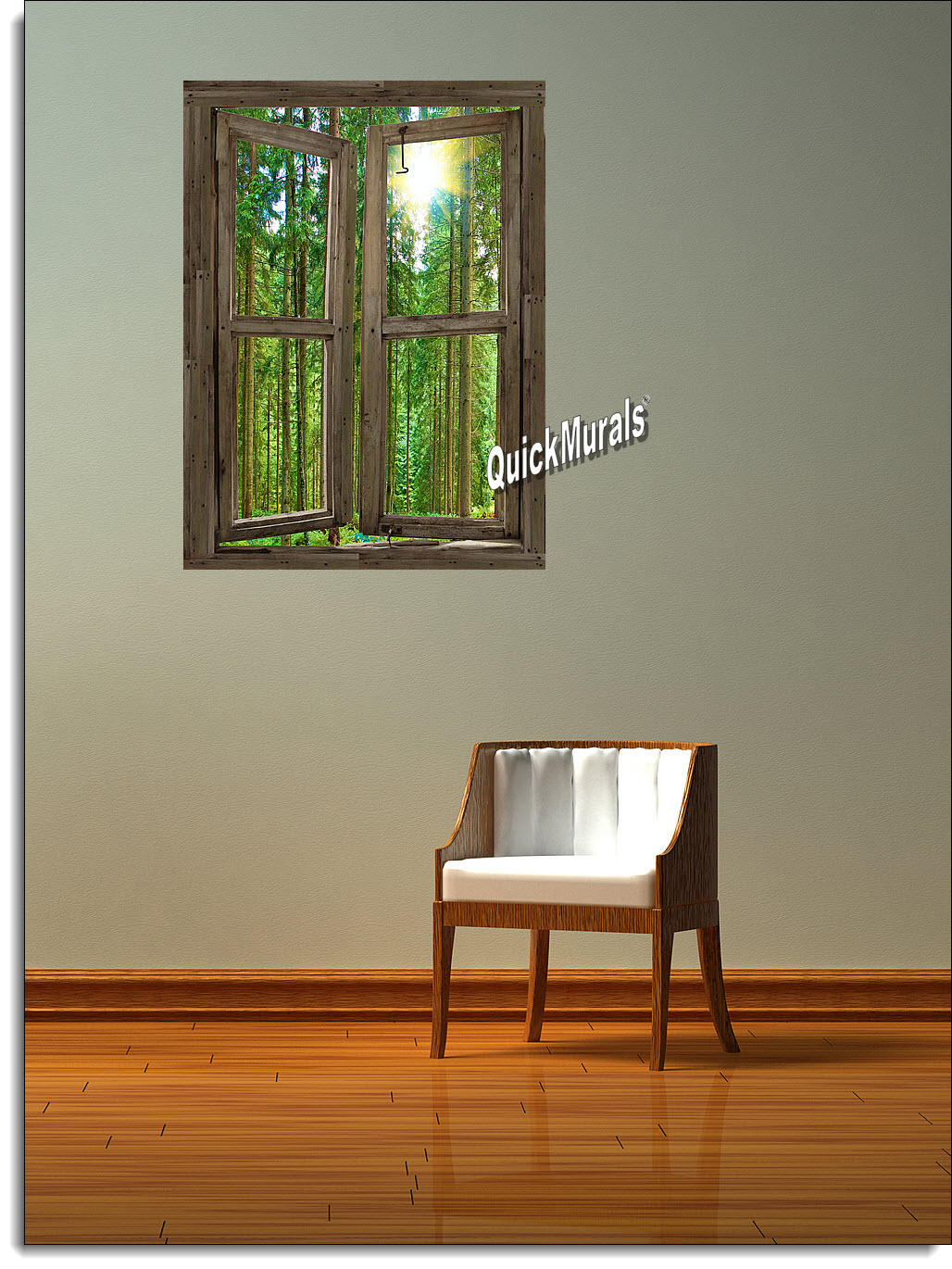 Country Cabin Window Peel And Stick 1 Piece Canvas Wall Mural Mid