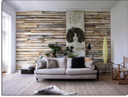whitewashed wood mural