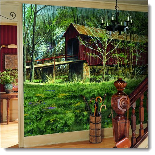 Covered Bridge Wall Mural Full Size Large Wall Murals The Mural Store