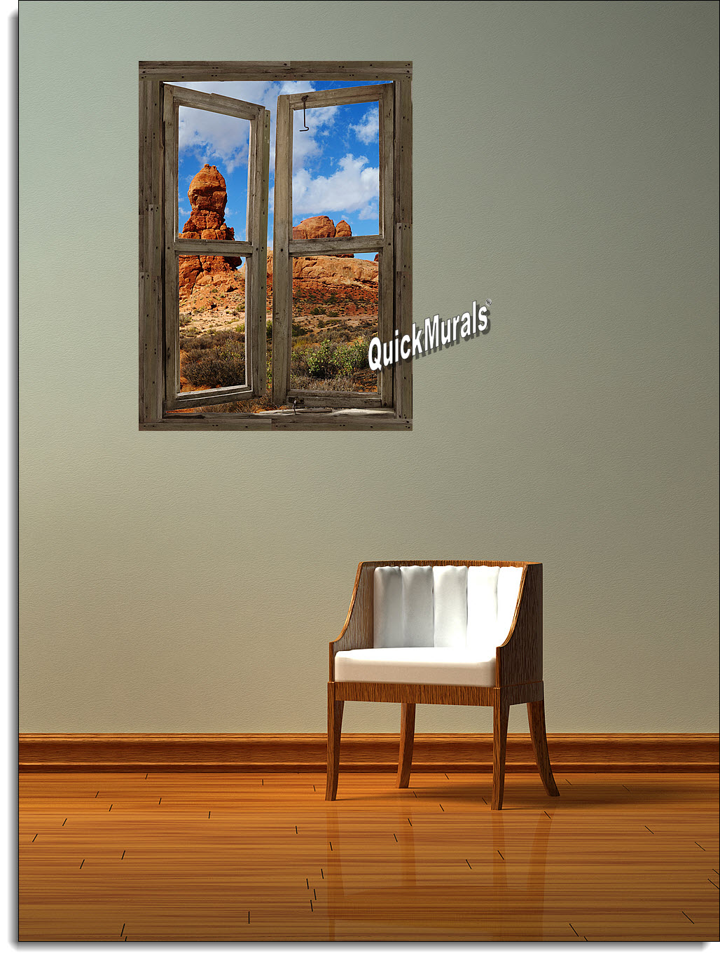 Desert Canyon Window Peel and Stick (1 piece) Canvas Wall Mural