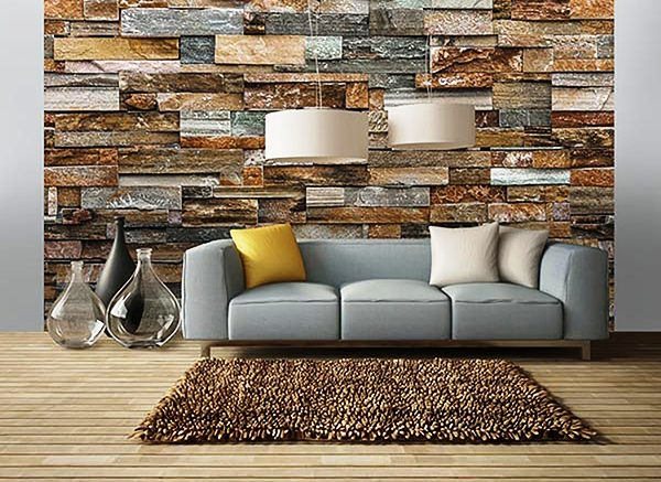 Colorful Stone Wall Mural Roomsetting