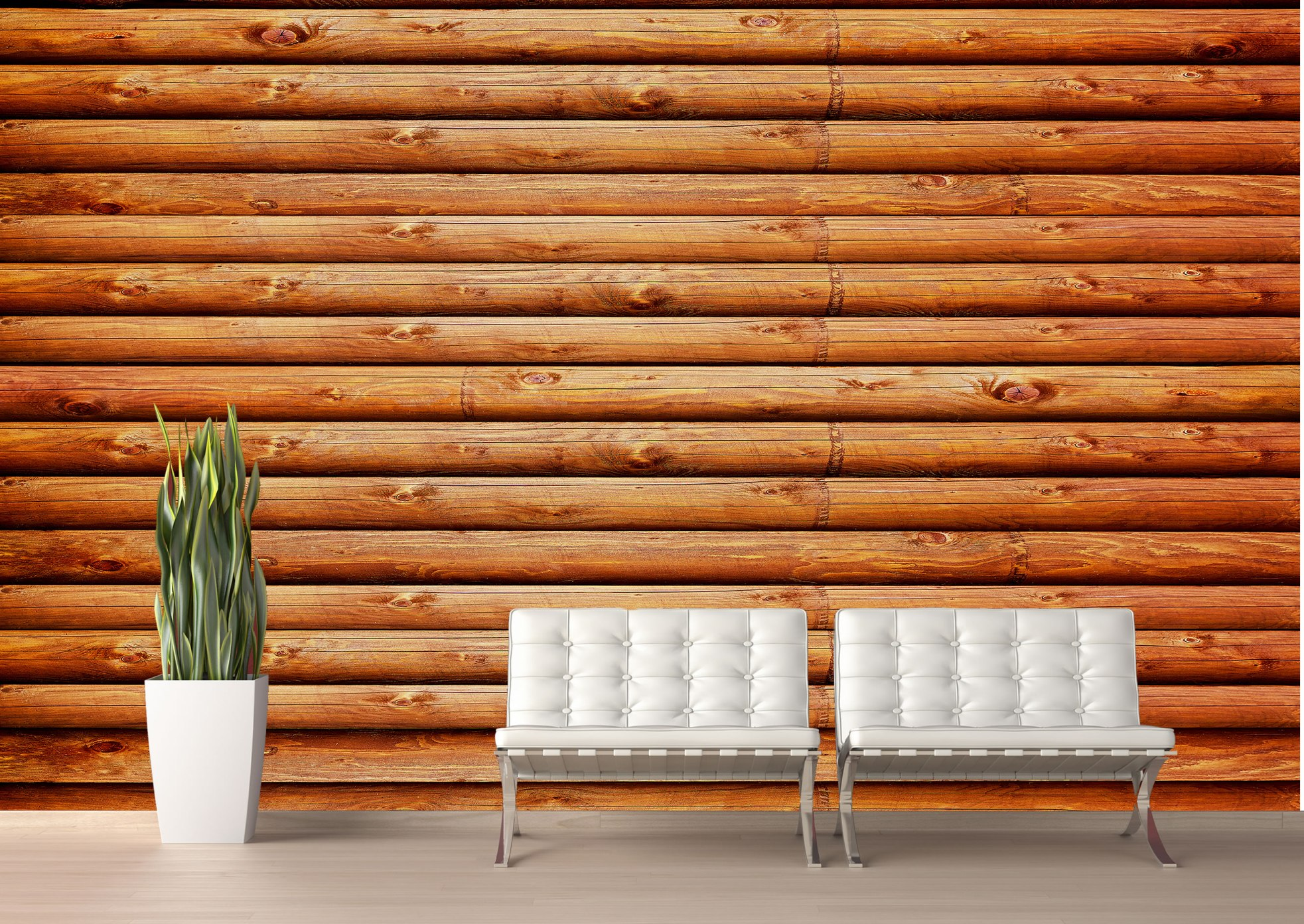 Log Cabin (Red Cedar) Wall Mural
