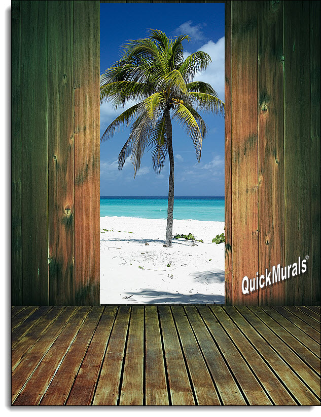 & Palm Tree 1-piece Peel \u0026 Stick Door Mural