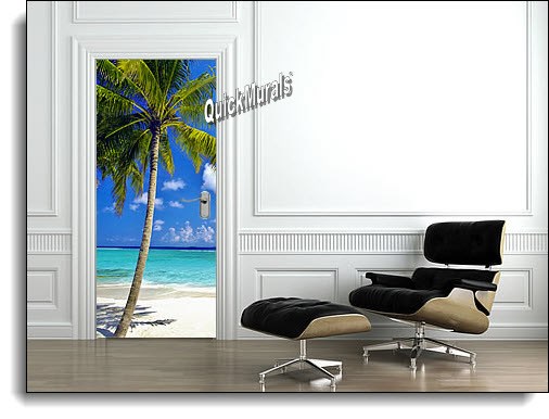 Tropical Palm Canvas Door Mural DT156