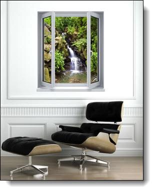 Black Forest Waterfall Window 1-Piece Peel & Stick Wall Mural