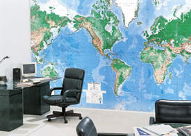 Deluxe Executive Laminated World Map Mural C900 by Environmental Graphics