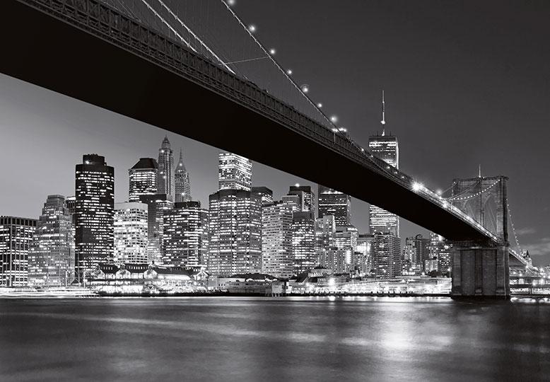 Manhattan Skyline Wall Mural WG140 Black and White