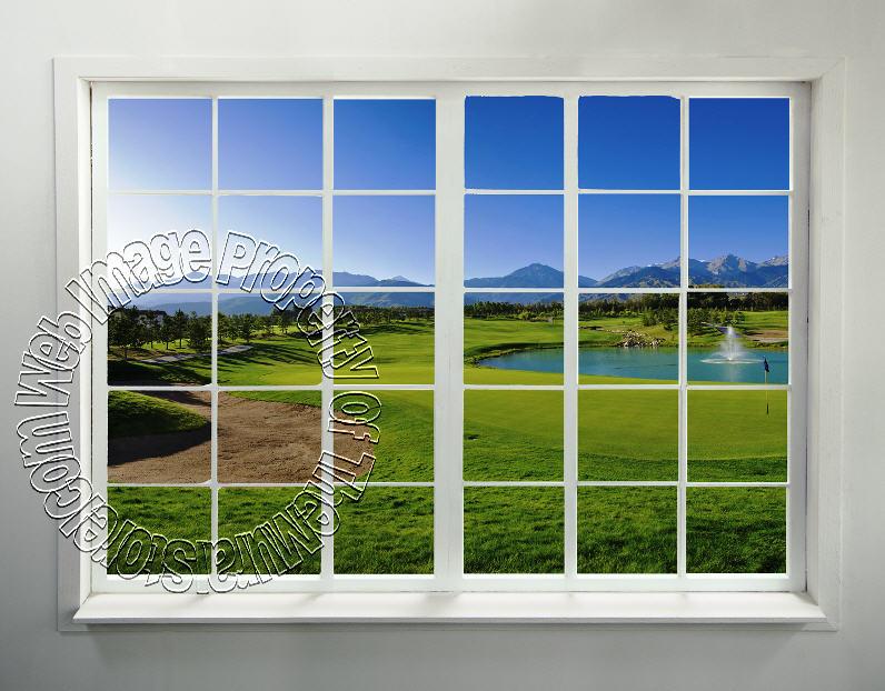 Stick On Wall Murals golf course window peel & stick wall mural - themuralstore