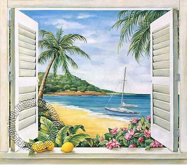 Tropical window wall mural for Beach window mural