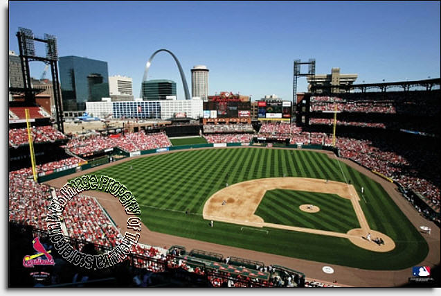 St louis cardinals busch stadium wall mural for Baseball mural wallpaper