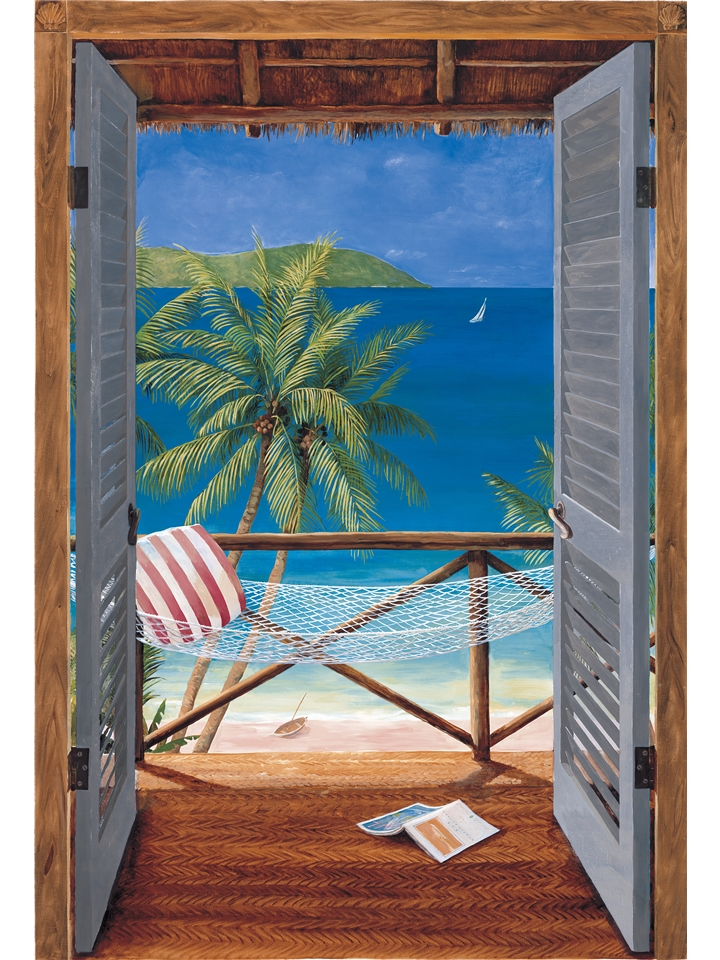 tropical door wall mural. Black Bedroom Furniture Sets. Home Design Ideas