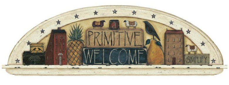 Primitive Welcome Friends Arch Mural