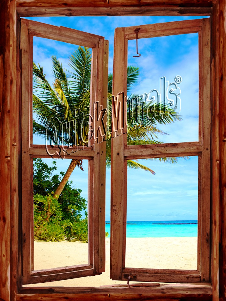 Pirates' Cove Cabin Window Mural One-piece Peel & Stick Canvas Wall Mural