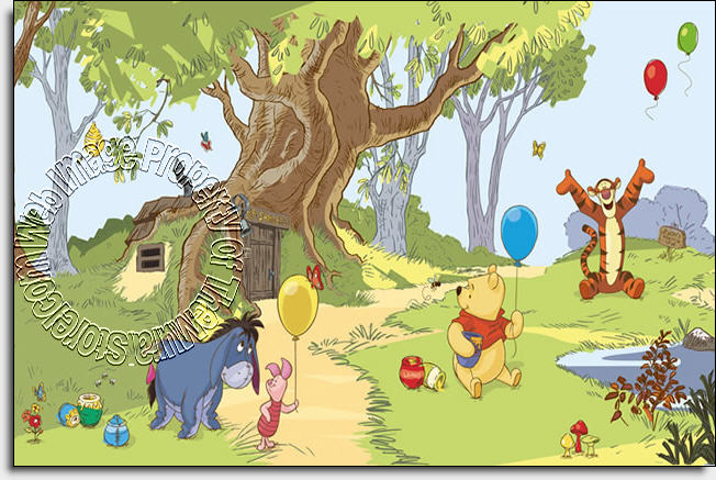 Pooh friends wall mural by roommates for Baby pooh and friends wall mural