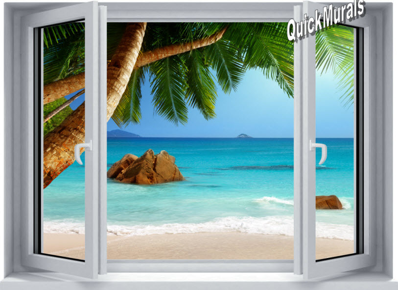Secluded Beach Window 1 Piece Peel Amp Stick Canvas Mural