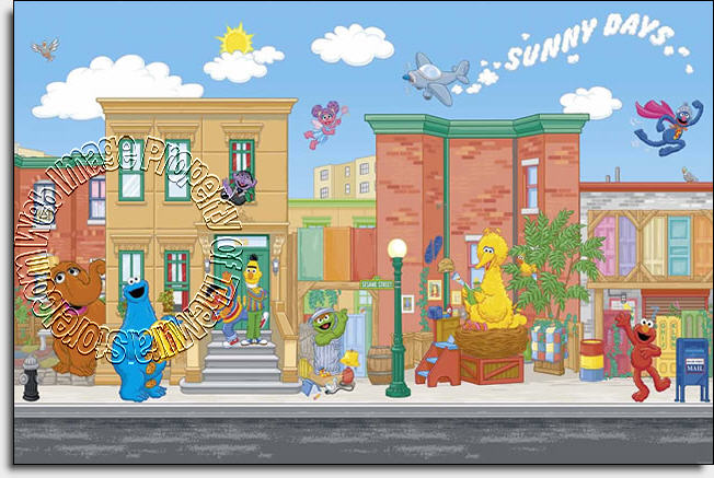 sesame street wall mural by roommates themuralstore com sesame street wall murals on popscreen