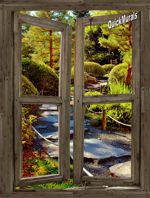 Stone Path Cabin Window One-piece Peel & Stick Canvas Wall Mural